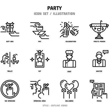 Party Icon Set, 12 icons for web design and vector illustration Ilustracja