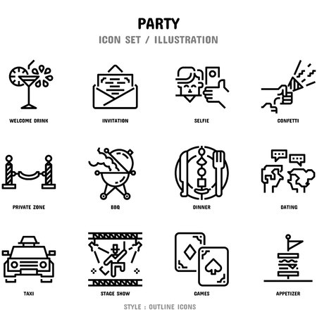 Party Icon Set, 12 icons for web design and vector illustration Иллюстрация
