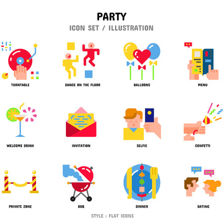 Party Icon Set, 12 icons for web design and vector illustration 일러스트