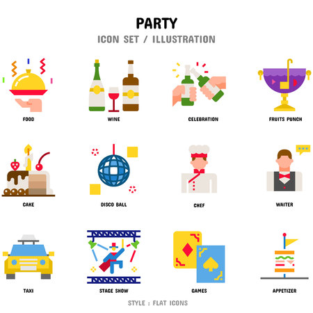 Party Icon Set, 12 icons for web design and vector illustration Stock Illustratie