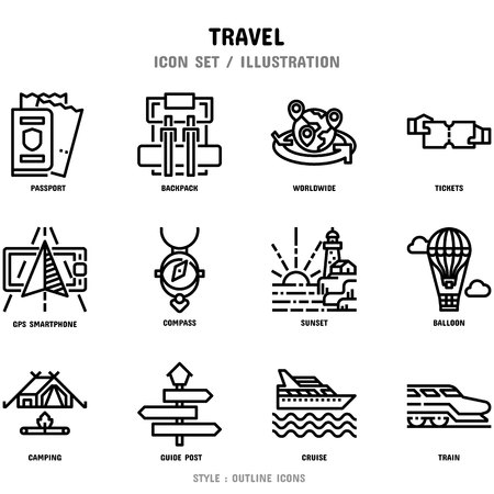 Travel Icon Set, 12 icons for web design and vector illustration Stockfoto - 112053082