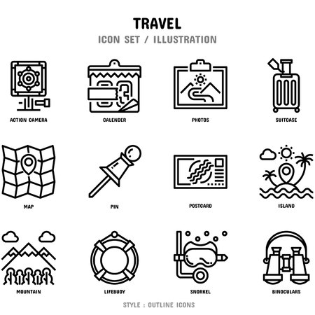 Travel Icon Set, 12 icons for web design and vector illustration