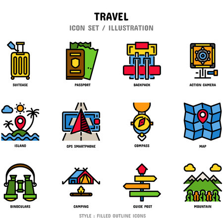 Travel Icon Set, 12 icons for web design and vector illustration Stockfoto - 112053084