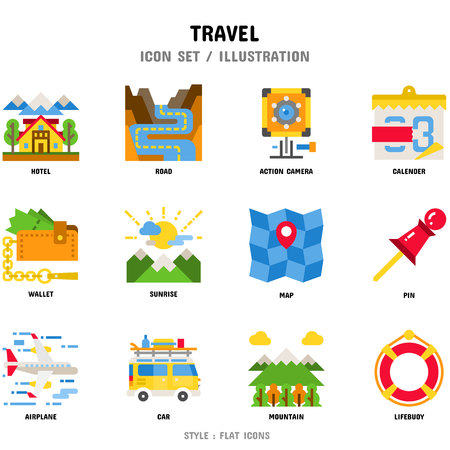 Travel Icon Set, 12 icons for web design and vector illustration Stockfoto - 112053088