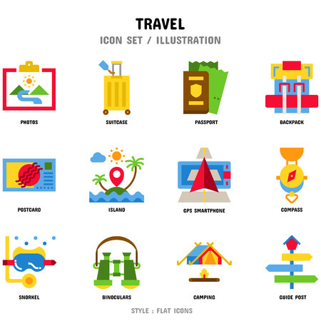 Travel Icon Set, 12 icons for web design and vector illustration 写真素材 - 112053089