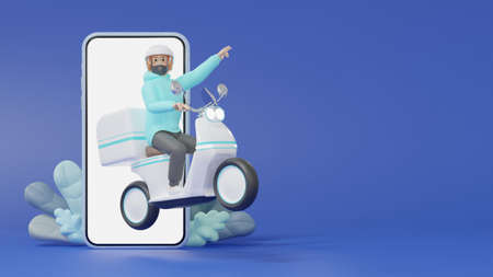 Delivery staff ride an electric scooter out of a smartphone to deliver products to customers 3d render Cartoon characters