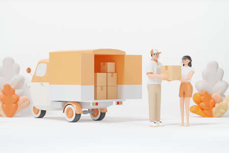 Delivery Staff Deliver parcel to the customer 3d render cartoon character Standard-Bild