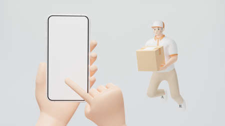 Human hand using the index finger to slide the screen of the smartphone Delivery staff floating in the air holding a box 3d render cartoon character Online shopping concept