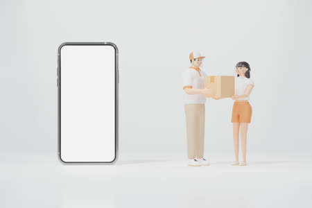 Smartphone and the cargo carrier deliver the box to the client teenage white skin woman with dark brown hair both of them wear a face shield 3d render cartoon character online shopping concept