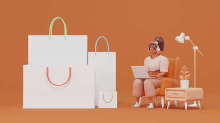 Shopping bag with a brown skinned and girl sitting on a sofa using a laptop shopping online 3d render cartoon character Online shopping concept