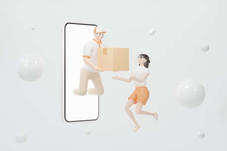 Delivery staff drifting out of the smartphone screen Send a box to a client a girl on a white skin with black hair floating in the air Both of them wear face shield 3d render cartoon characters Online shopping concept