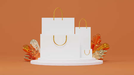 Mockup of shopping bags of various sizes, put on the product display stand with glossy metal leaves 3d render