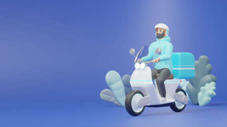 Delivery staff ride electric scooters to deliver products to customers. 3d render cartoon characters