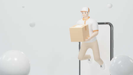 delivery staff of a man carrying a box burst through the smartphone 3d render Cartoon character Online shopping concept Standard-Bild