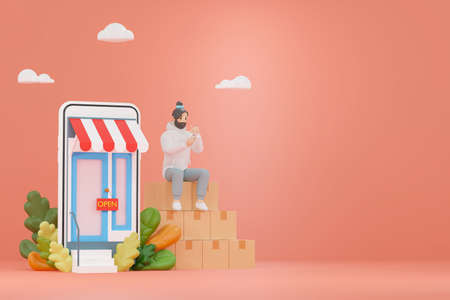 3D illustrations of online stores on the website A young man using a smartphone sitting on a product box Standard-Bild