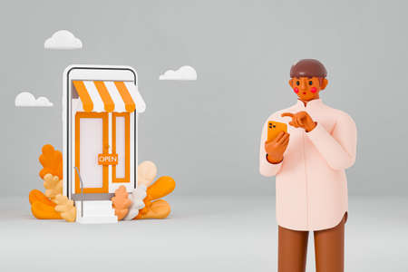 Concept Illustration of a 3D model of a man with long brown skin holding a smartphone in front of an online store Standard-Bild