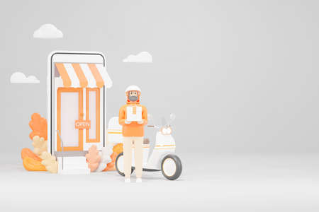 Illustration of a 3D model of a delivery man standing in front of an online store. Hold the package in the hand With his scooter on the side