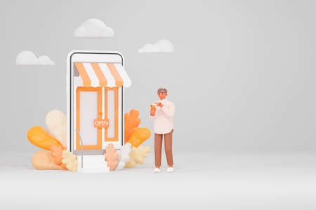 Illustration of a 3D model of a man with long brown skin holding a smartphone in front of an online store