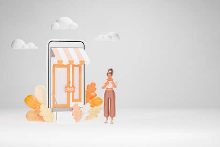 3d render model illustration of a long haired brown woman standing with a smartphone Online storefront