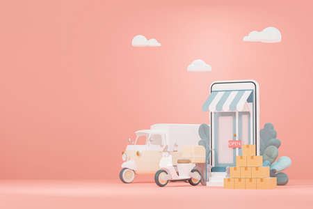 3D render illustrations of online stores Delivery truck and cargo box On a pastel pink background 版權商用圖片