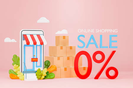 Illustration of a 3D model of an online store With a box of shelves arranged on the side With 3D text online shopping sale zero percent discount
