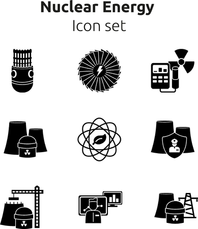 Nuclear energy icon set. 9 icons. Vector illustration. Silhouette icons Illustration