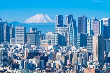 Tokyo stad en Mt Fuji Redactioneel
