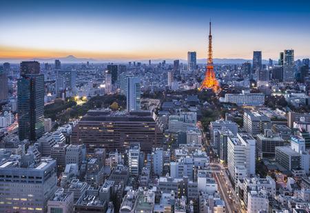 Tokyo city and Mt Fuji at sunset 報道画像