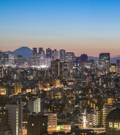 Tokyo City and Mount Fuji at sunset 報道画像
