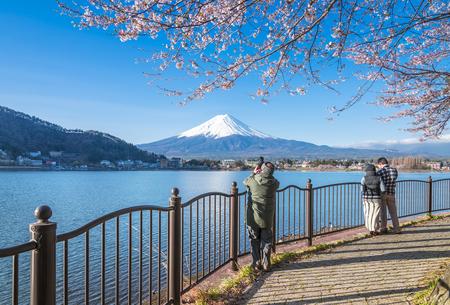 Mt fuji and Cherry Blossom from Lake Kawaguchiko