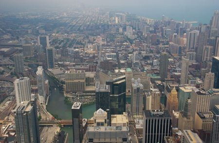 sears: Aerial view of the the City of Chicago and the Chicago River to the north of the Sears Tower.  Taken from the Sears Tower, July 2007.