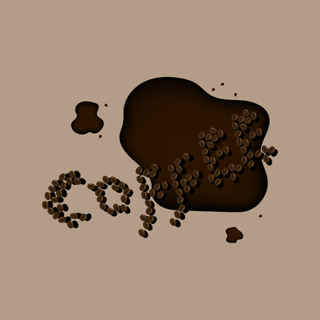 muck: coffee break spelled out in beans with a pile of roasted beans