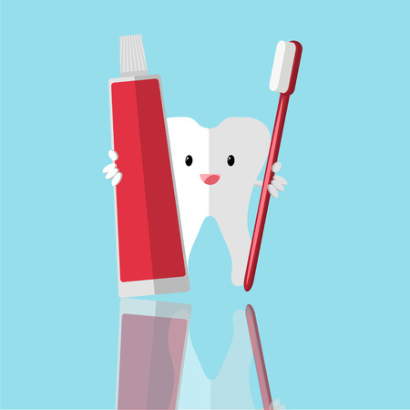 pasta de dientes: Healthy cute cartoon tooth character making a thumb up gesture while smiling happily and holding a dental tooth brush with tooth paste