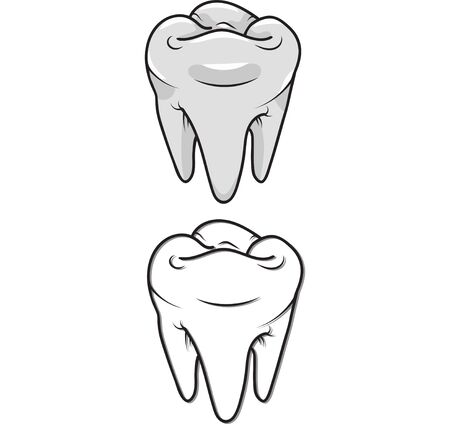 carious: White teeth and outline. isolated. Clip-art Stock Photo