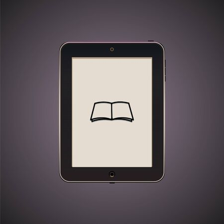 reader: Black tablet with icon. Illustration of reader. Vector isolated