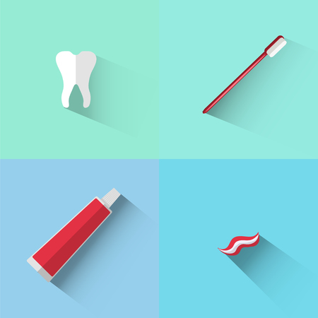 Objects of tooth, brush and paste in flat style Stock Photo