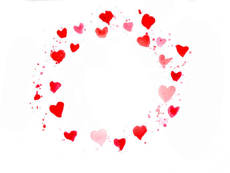 ard: Watercolor ard with hearts for holidays in pink Stock Photo