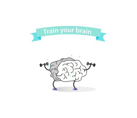 intellect: Creative cartoon brain concept. Doodle style. Thin line art flat design of brain for sport win with a ribbon