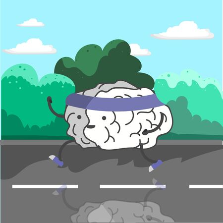 run down: The brain is engaged in training. Brains run down the street Illustration