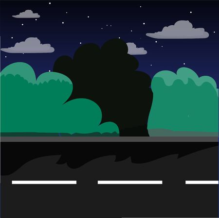 horizon over land: Street in the night in a cartoon style. Bushes, asphalt, road