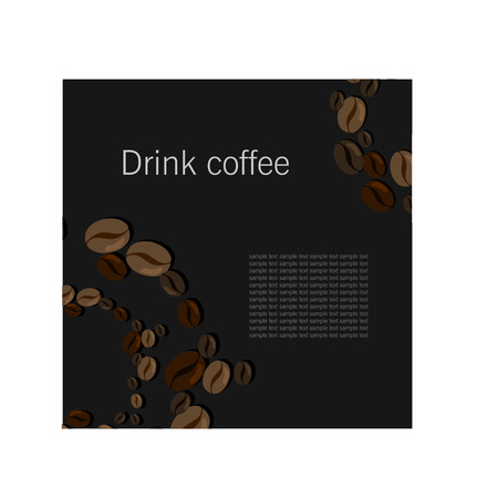 Dark card with coffee beans for caffee Illustration