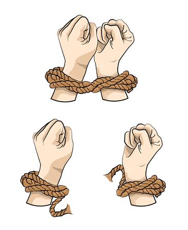 Mains dans la corde, illustration de la main attachée. Vecteurs