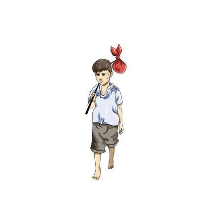 Illustration of a boy walking. Illustration