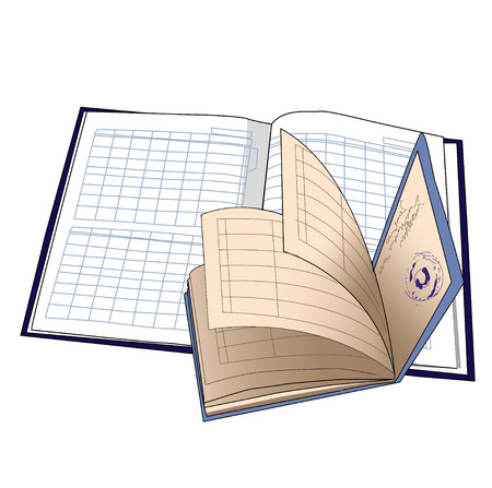 diary: Diary and students book isolated illustration.