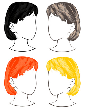 Four colors hair, Mannequins for training Stock Illustratie