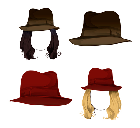 Two colors of hair and hat in mannequins for training