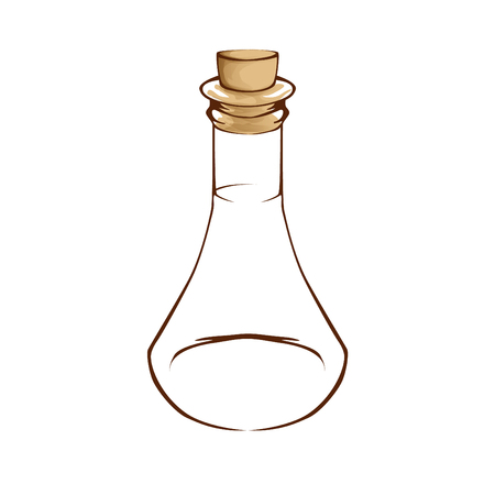 Template of empty transparent glass bottle
