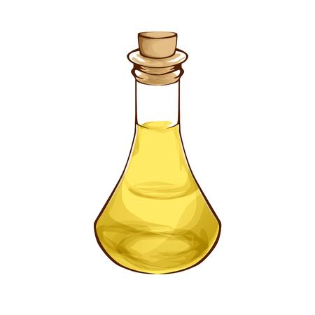mediterranean diet: Essential oil in bottle and cork cartoon style Illustration