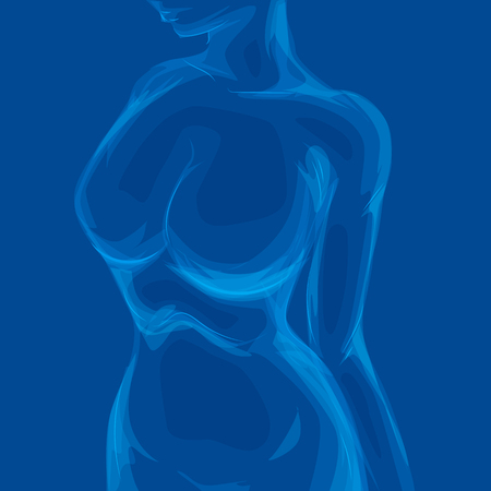 Human rib cage in X-ray image concept. Woman Body. Blue countour. Ilustracja