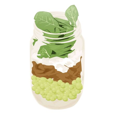 Glass jar with food flat style a vector. Isolated on a white background.